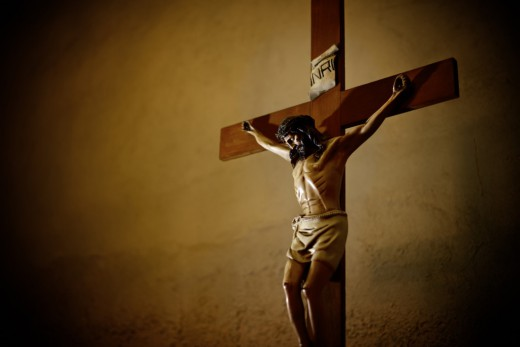 Catholic church and crucifix of Jesus Christ
